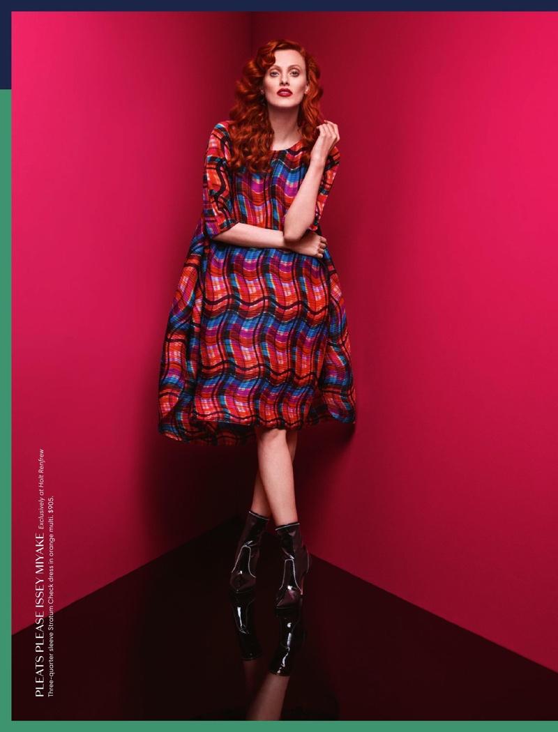 Karen Elson Models Vibrant Fall Styles for Holt Renfrew