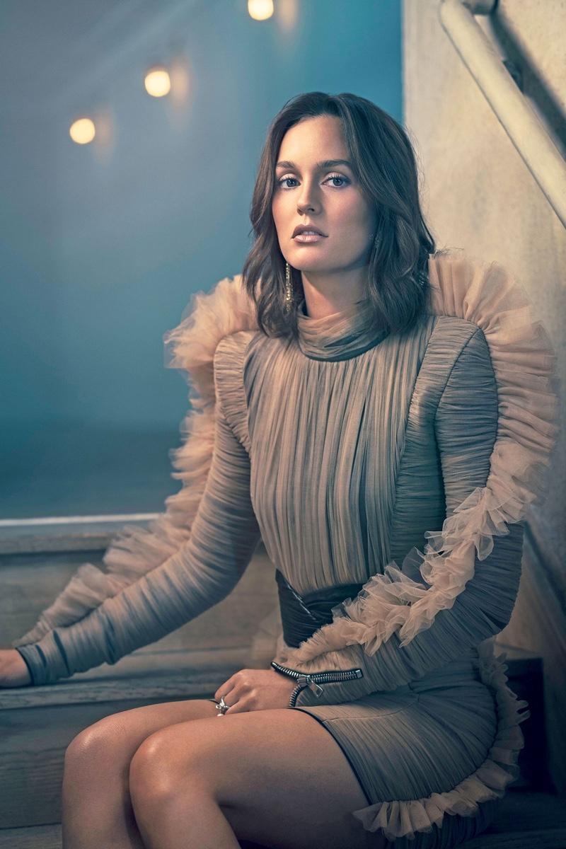 Actress Leighton Meester poses in Balmain dress and belt