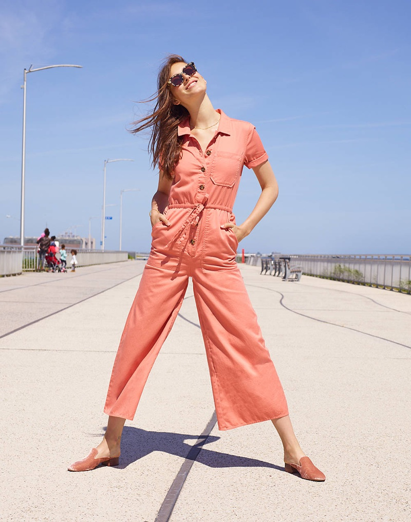 Madewell Wide-Leg Utility Jumpsuit, Venice Flat-Frame Sunglasses and The Willa Loafer Mule in Velvet
