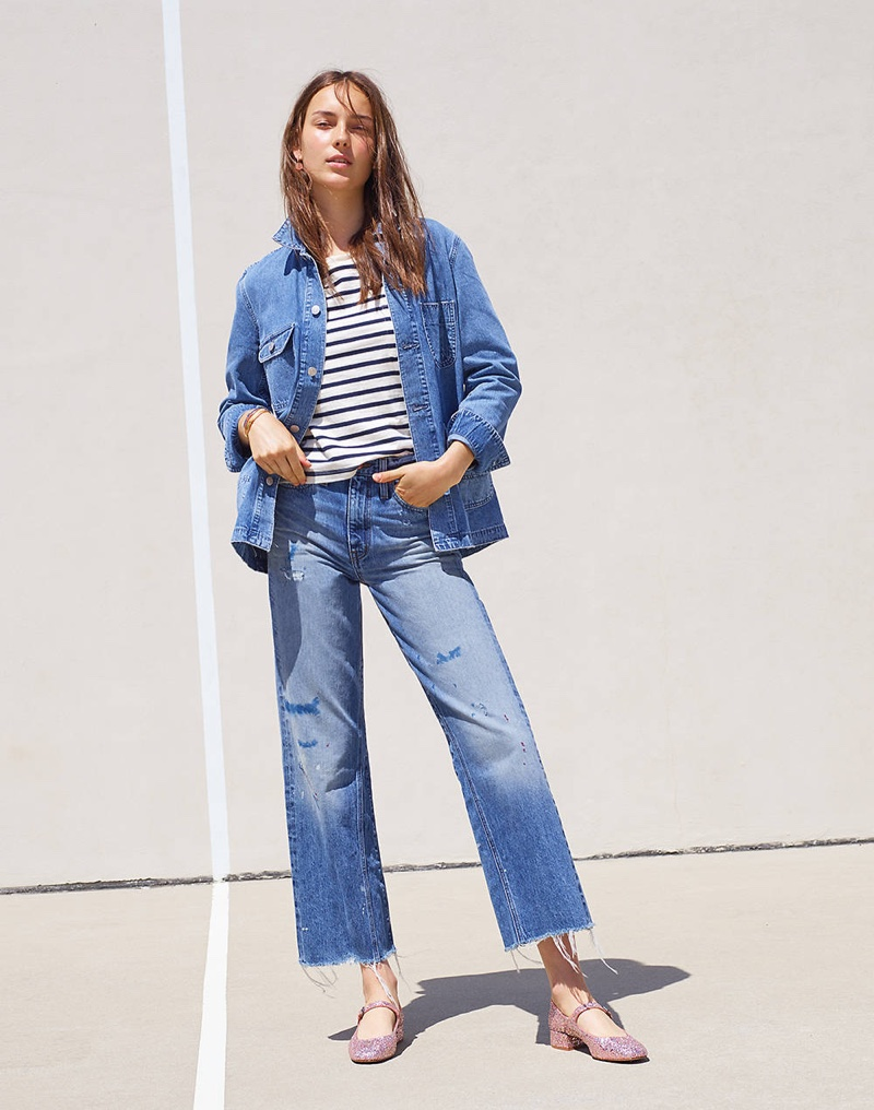 Madewell Selvedge Denim Chore Coat, Easy Crop Tee in Stripe Mix, Rivet & Thread Wide-Leg Crop Jeans: Inset Edition and The Delilah Mary Jane in Glitter