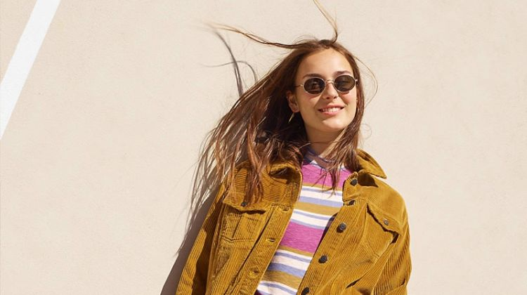"Madewell The Oversized Jean Jacket: Corduroy Edition, Mockneck Shirttail Tee in Stripe, 9"" High-Rise Skinny Jean in Paloma Wash: Raw-Hem Edition and Wire-Rimmed Sunglasses"