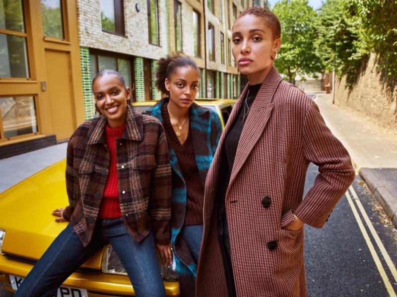 Adwoa Aboah, Kesewa Aboah and Alewya Aboah star in Mango fall-winter 2018 campaign