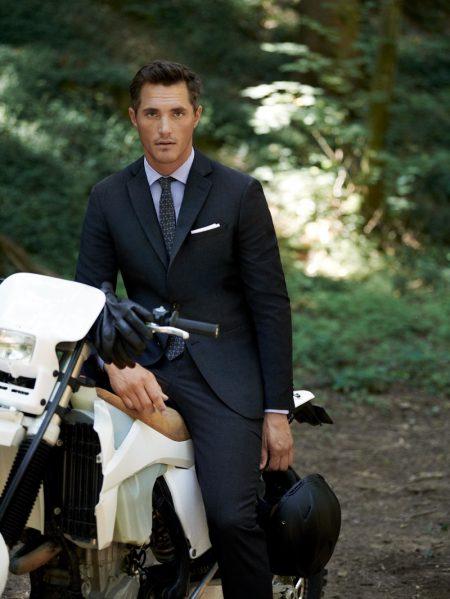 British model Ollie Edwards dons Mango Man's comfortable travel suit.
