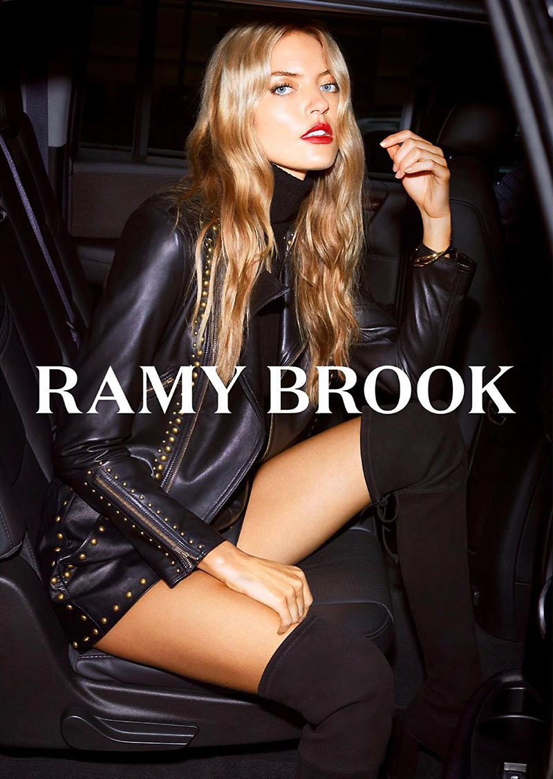 Wearing the Yoma leather jacket, Martha Hunt poses for Ramy Brook fall-winter 2018 campaign