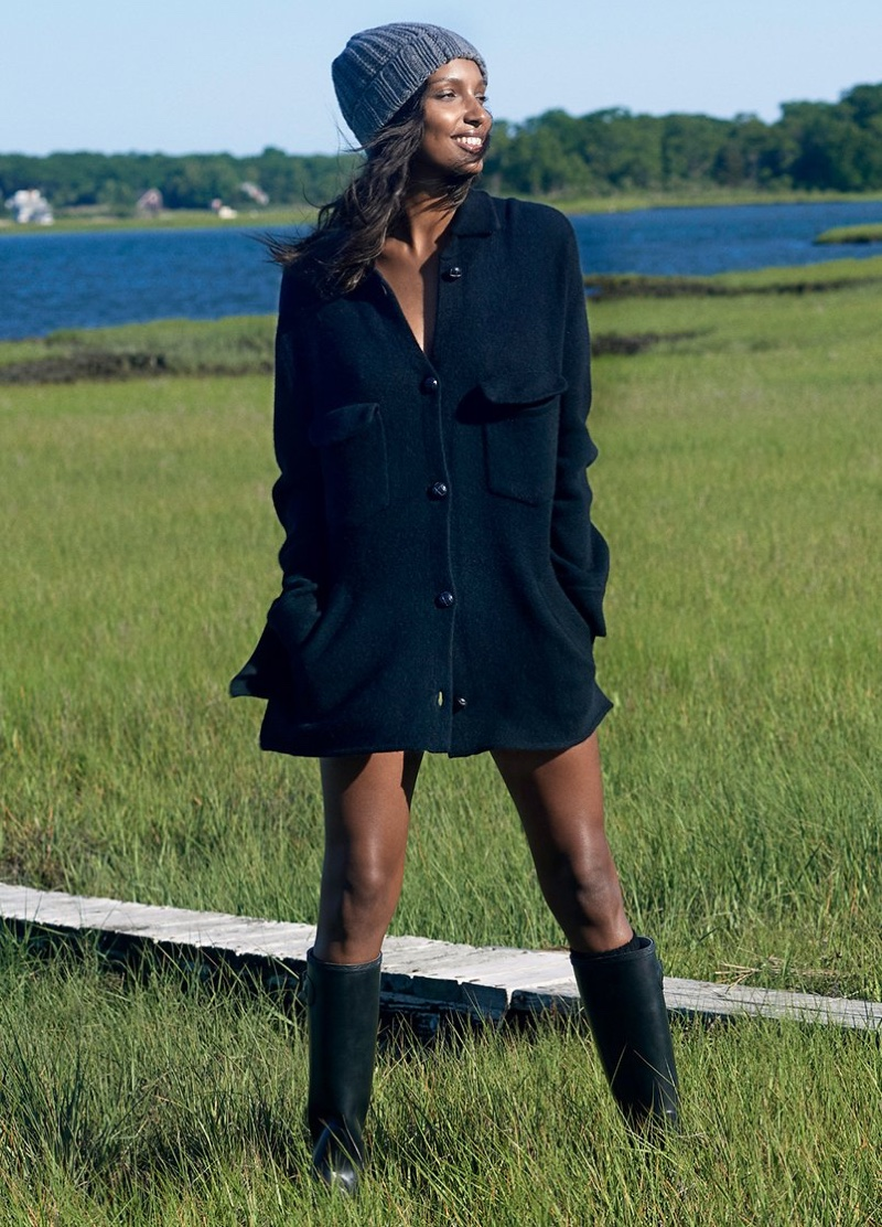 Wearing a jacket, Jasmine Tookes appears in Naked Cashmere fall 2018 campaign