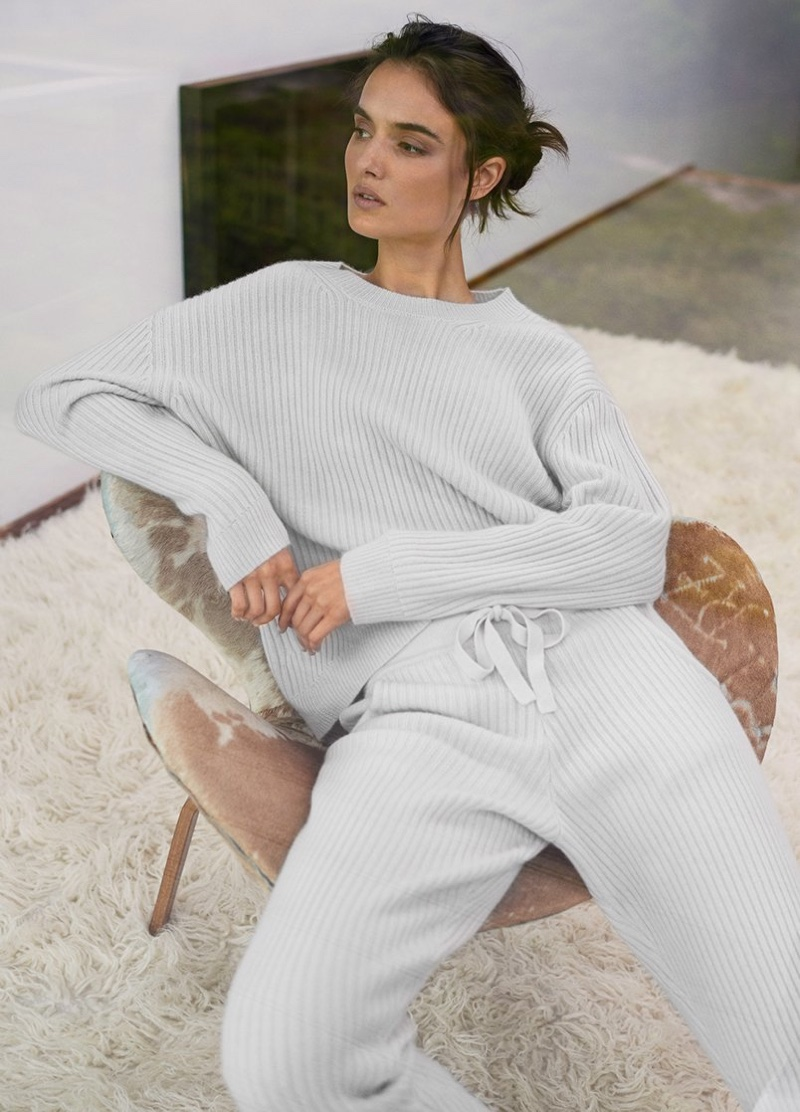 Lounging in style, Blanca Padilla appears in Naked Cashmere fall 2018 campaign