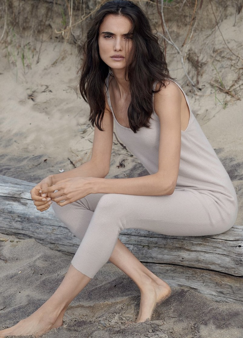 Wearing a one-piece, Blanca Padilla fronts Naked Cashmere fall 2018 campaign