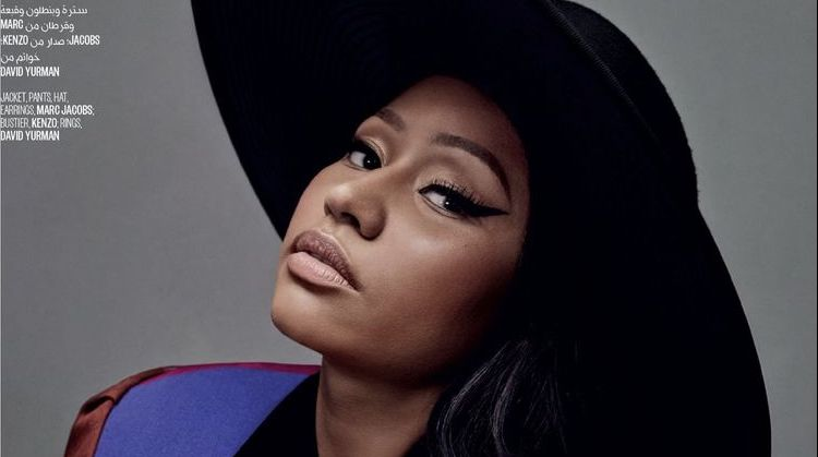 Wearing Marc Jacobs jacket and hat, Nicki Minaj looks ready for her closeup
