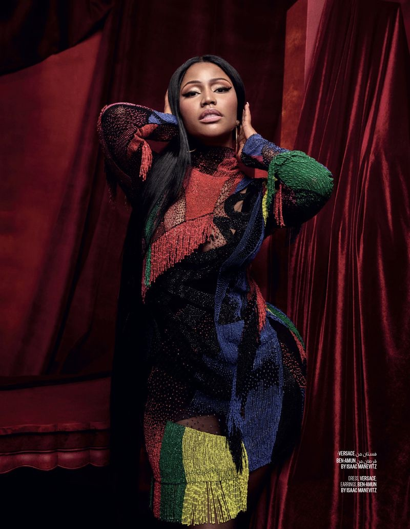 Rapper Nicki Minaj wears Versace dress