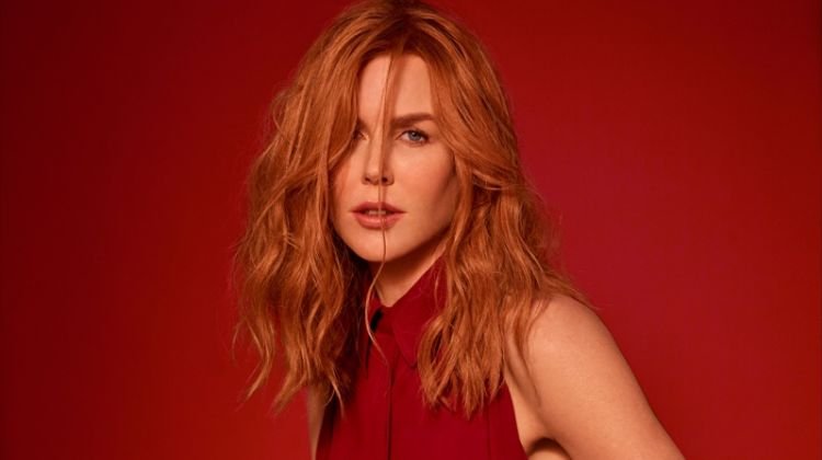 Looking red-hot, Nicole Kidman poses in Salvatore Ferragamo dress and belt