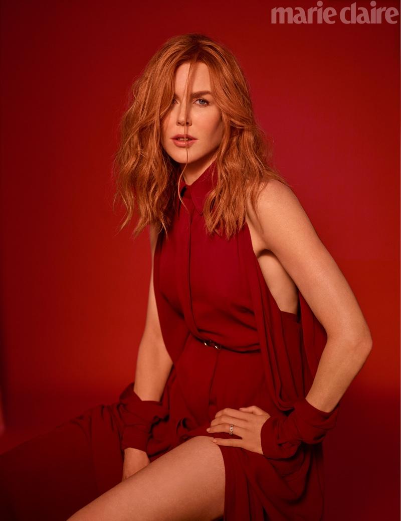 Looking red-hot, Nicole Kidman poses in Salvatore Ferragamo dress and belt