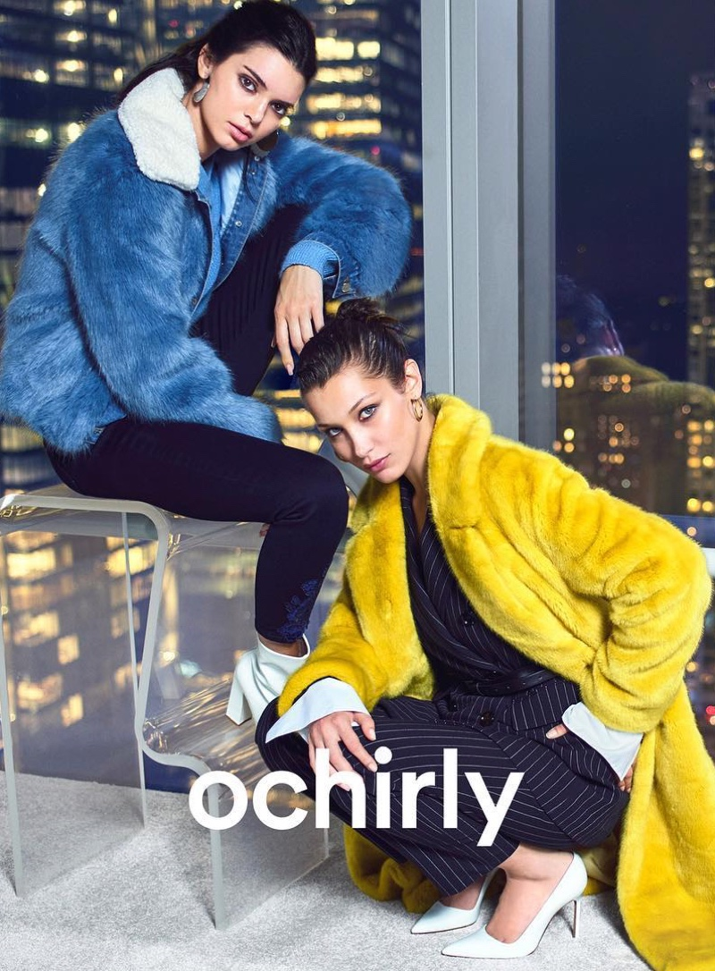 Models Kendall Jenner and Bella Hadid wear faux fur looks for Ochirly winter 2018 campaign