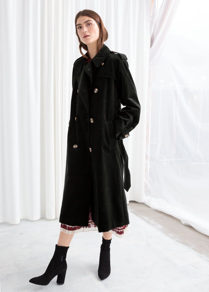 & Other Stories Belted Cotton Cord Trench Coat $219