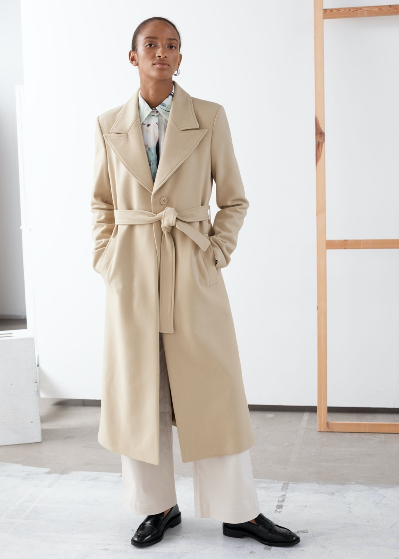 & Other Stories Belted Wool Blend Long Coat in Cream $279