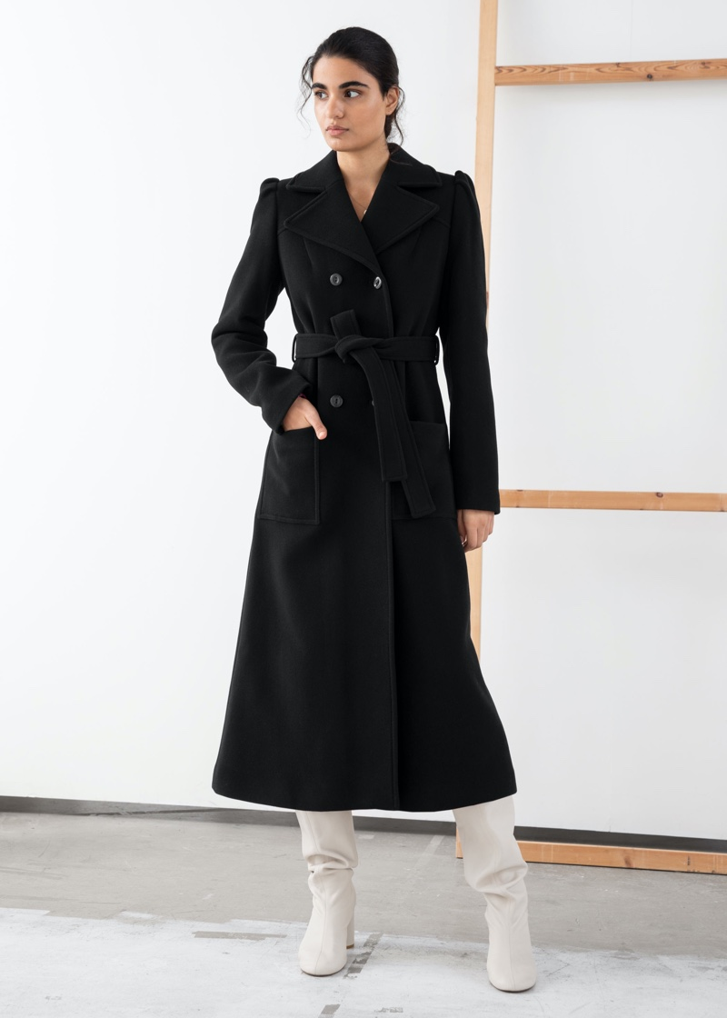 & Other Stories Belted Wool Blend Long Coat $279
