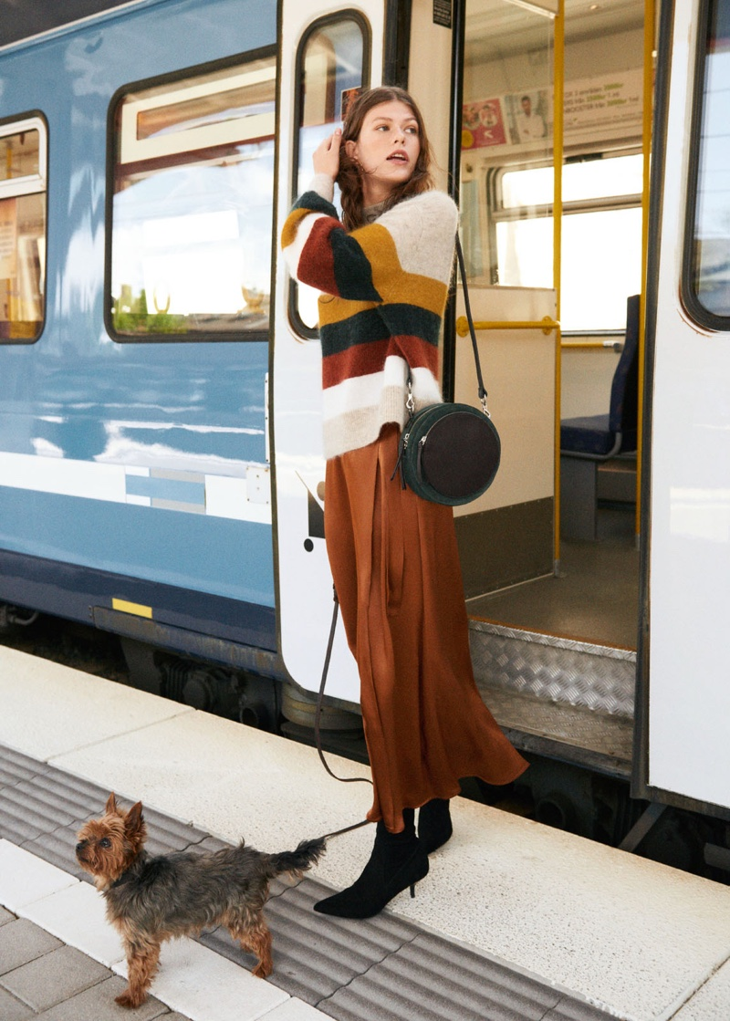 & Other Stories Striped Wool Blend Sweater, Long Skirt, Suede Sock Kitten Heel Boot and Circle Bag