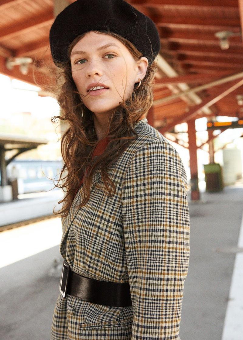 & Other Stories Oversized Structured Plaid Blazer, V-Cut Silk Button Down Blouse and Wool Beret