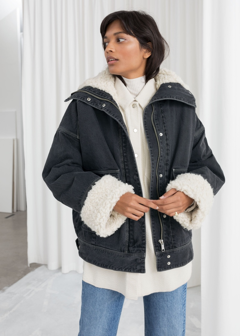 & Other Stories Denim Faux Shearling Jacket $179
