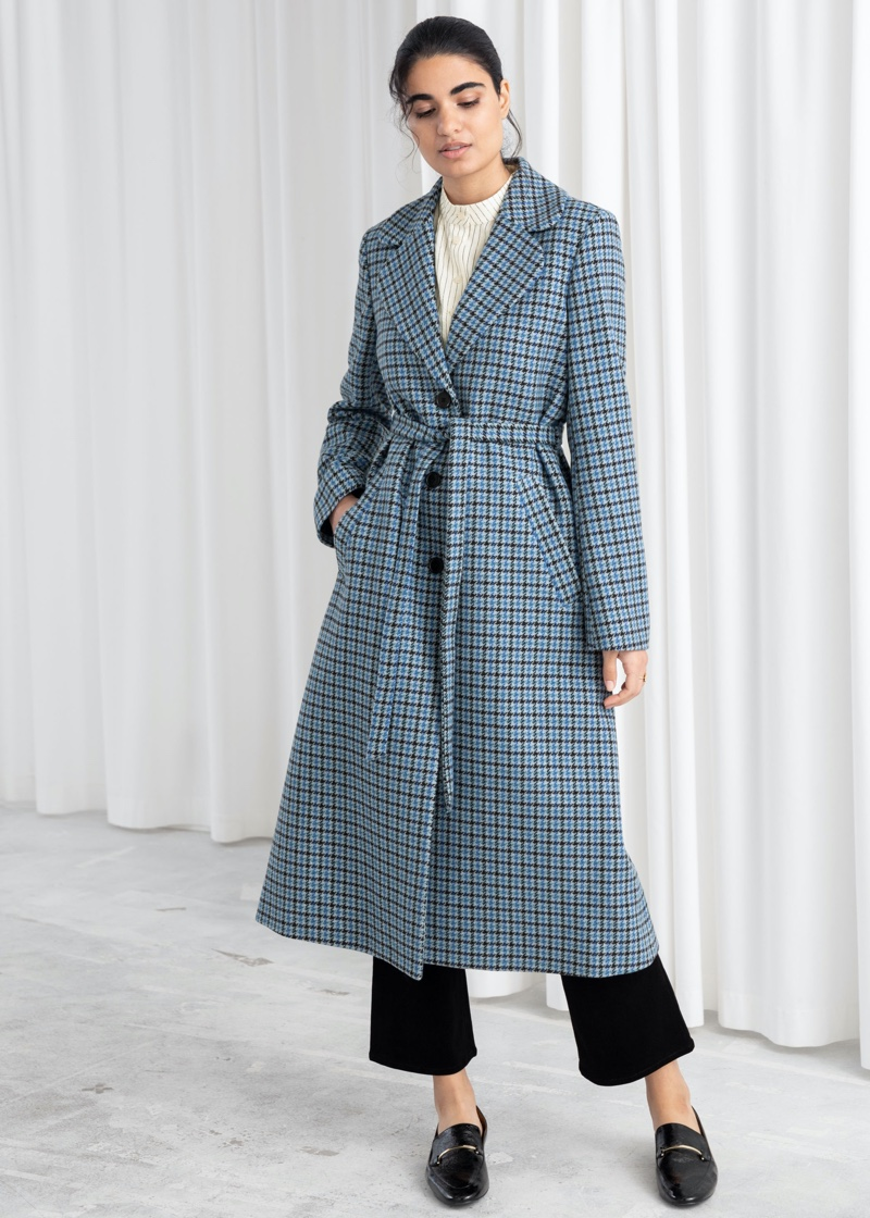 & Other Stories Houndstooth A-Line Belted Coat $249