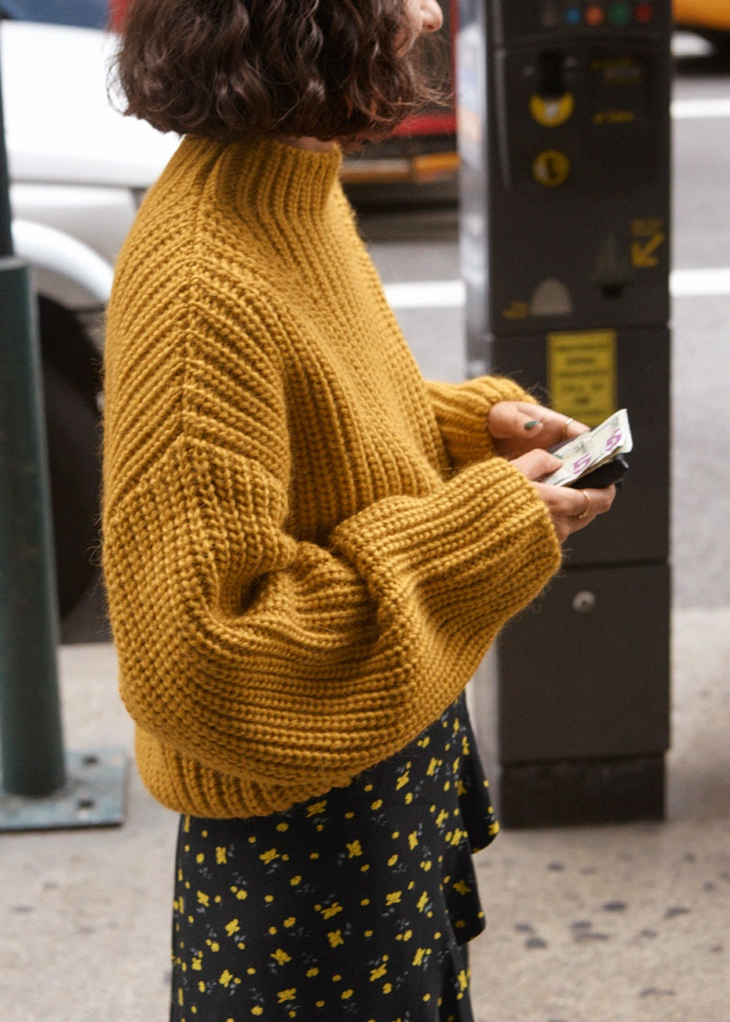 & Other Stories Chunky Knit Sweater and Ruffle Wrap Maxi Skirt