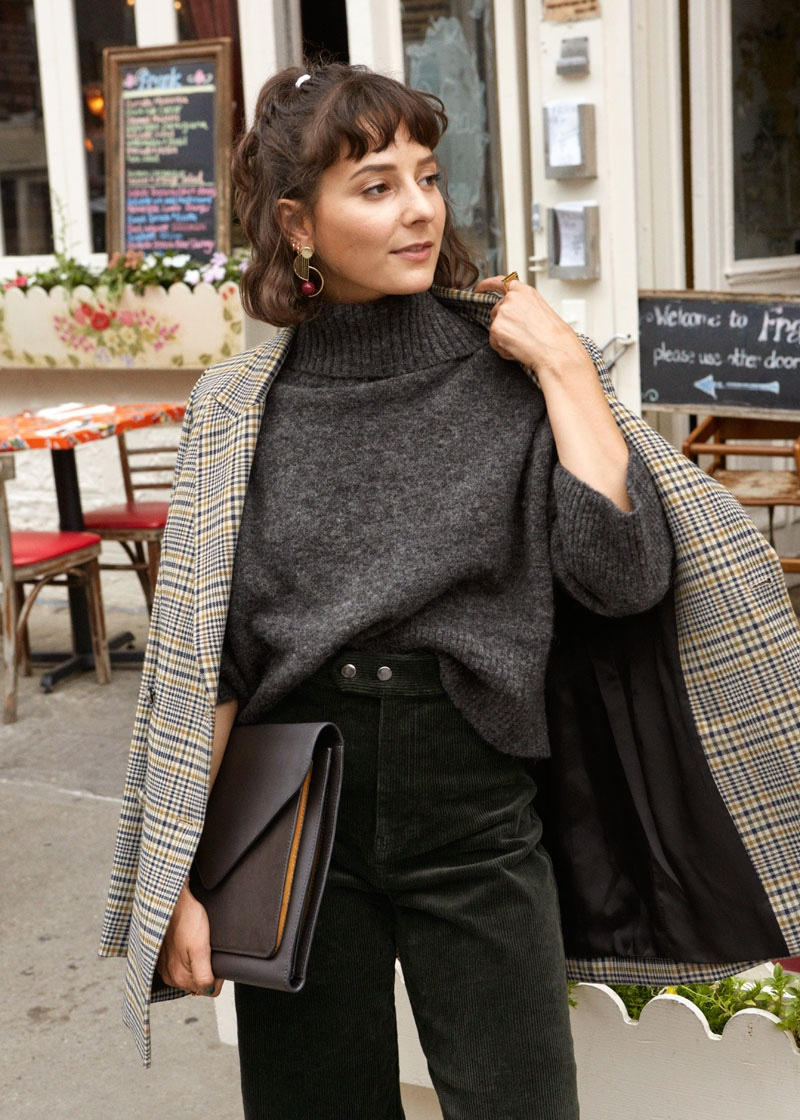 & Oversized Structured Plaid Blazer, Wool Blend Turtleneck Sweater, Duo Snap Button Corduroy Culottes and Leather Envelope Clutch