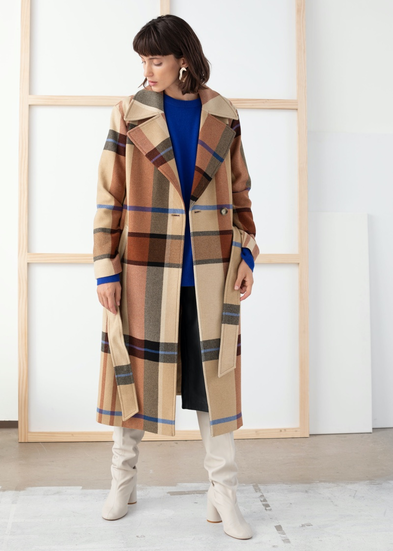 & Other Stories Plaid Wool Blend Belted Long Coat $279