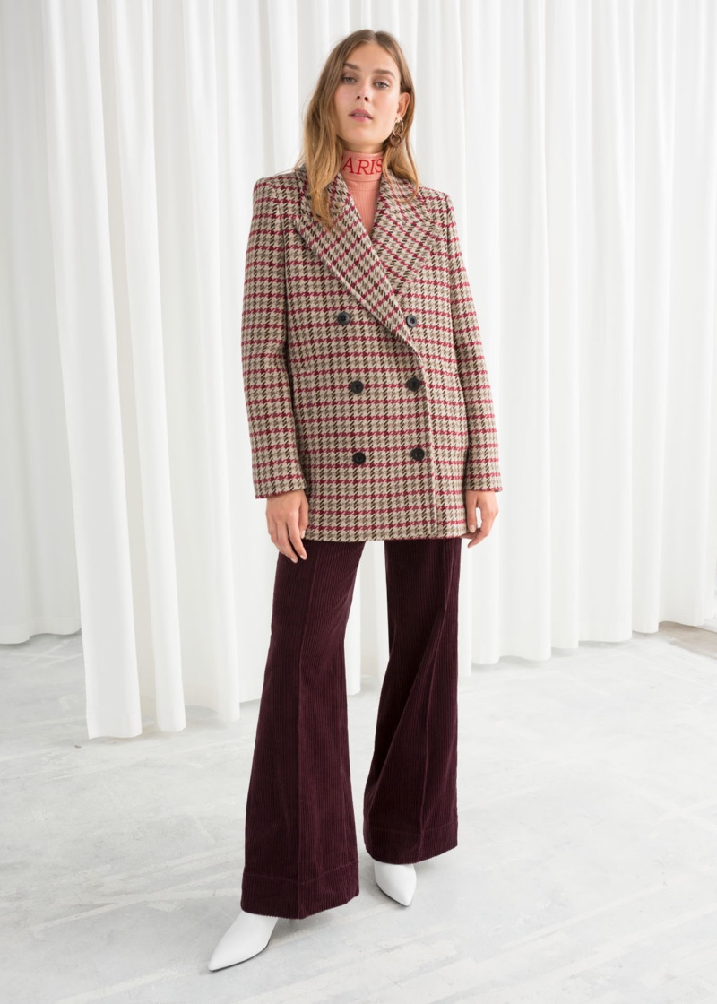 & Other Stories Wool Blend Houndstooth Coat $219