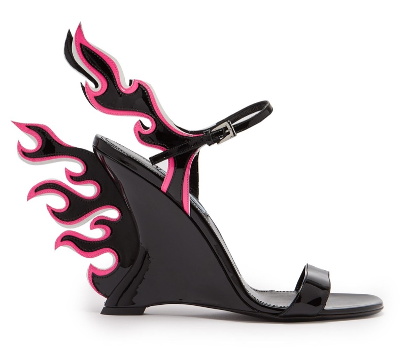 Prada Flame Patent Leather Sandals Black/Pink $1,100