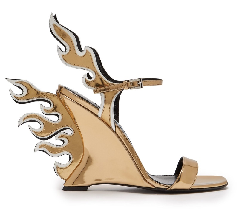 Prada Flame Patent Leather Sandals in Gold $1,100