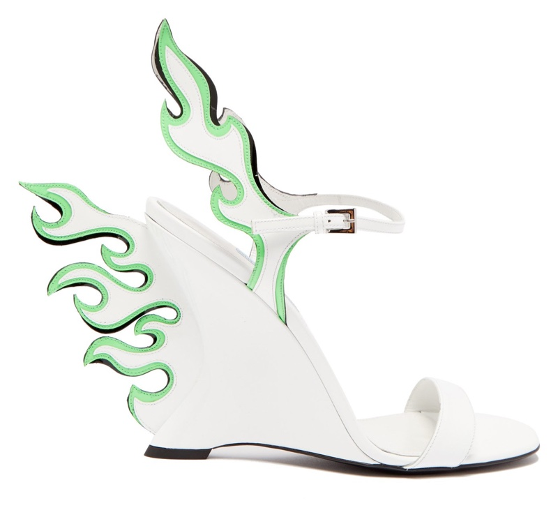 Prada Flame Patent Leather Sandals in White/Green $1,100