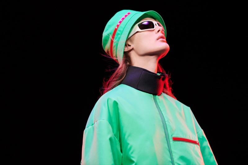 Prada spotlights the bucket hat for its Linea Rossa campaign