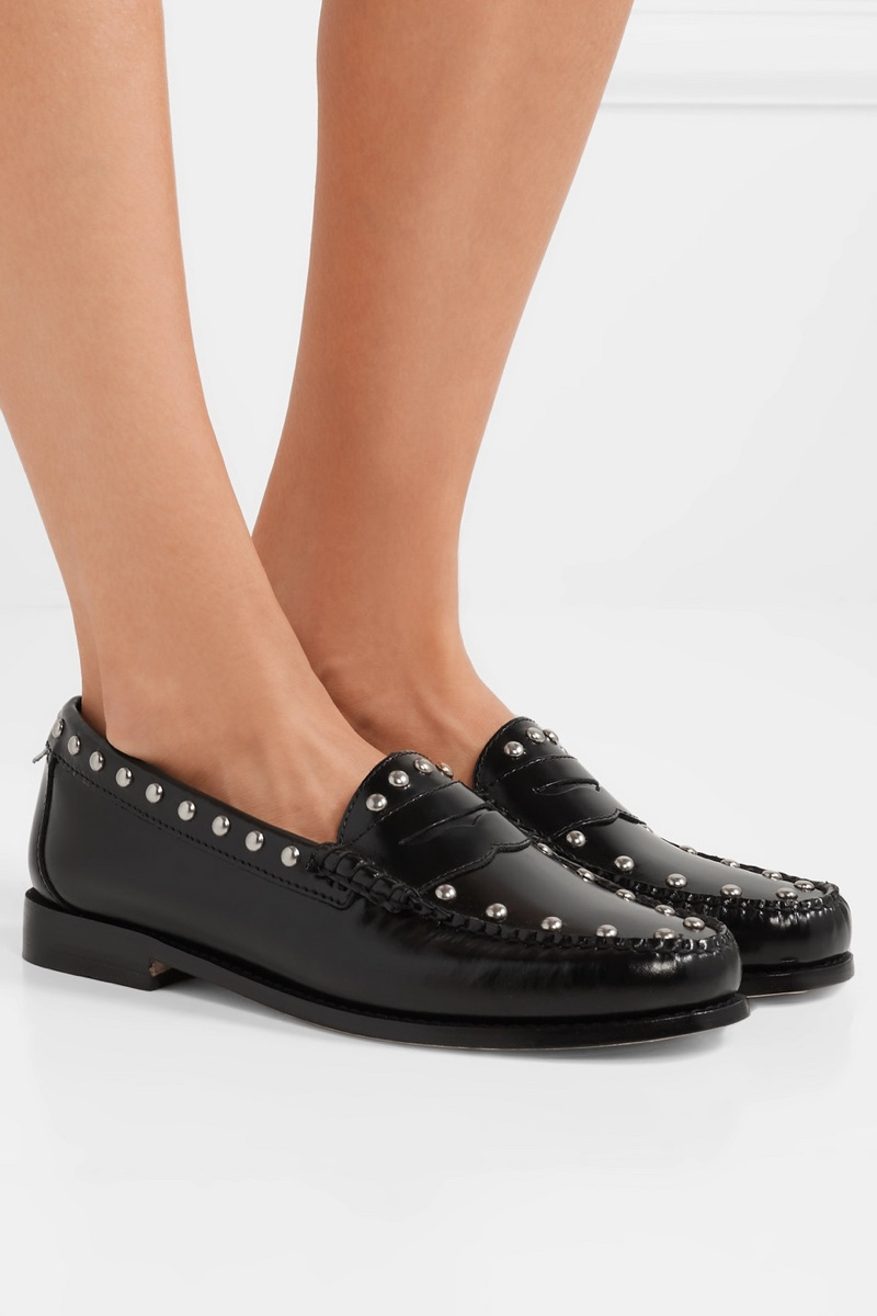 RE/DONE x Weejuns The Whitney Studded Glossed-Leather Loafers $395