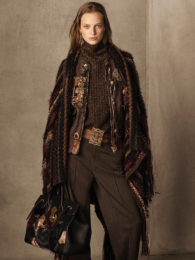 Ralph Lauren Collection Hamlin Leather Vest, Cashmere Funnelneck Sweater, Celessee Striped Wool Pant and Ornate-Buckle Leather Belt