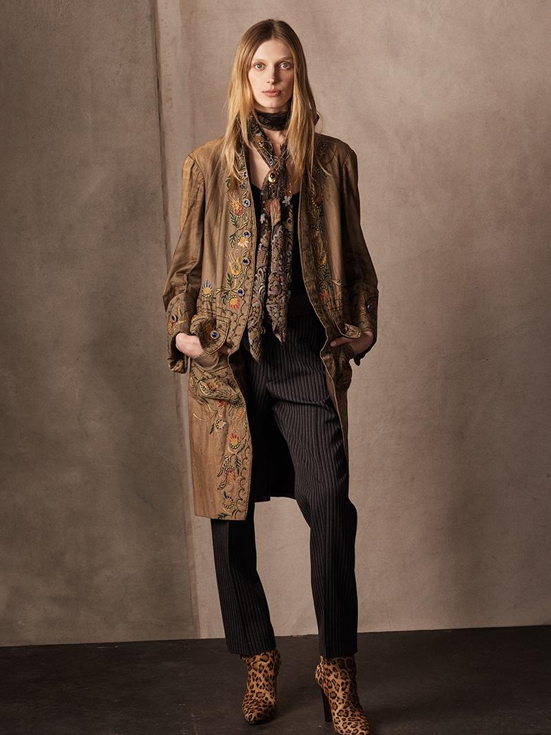 Ralph Lauren Collection Ezrah Beaded Camisole, Grayden Wool Pant and Wynter Leopard Haircalf Boot