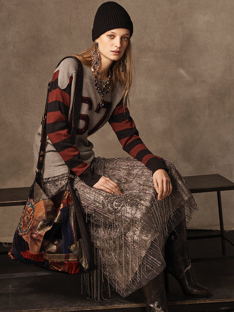 Ralph Lauren Collection 67 Linen-Cashmere Sweater, Greeley Beaded Skirt, Watchman Cashmere Hat, Large Patchwork Shoulder Bag and Remmy II Calfskin Boot