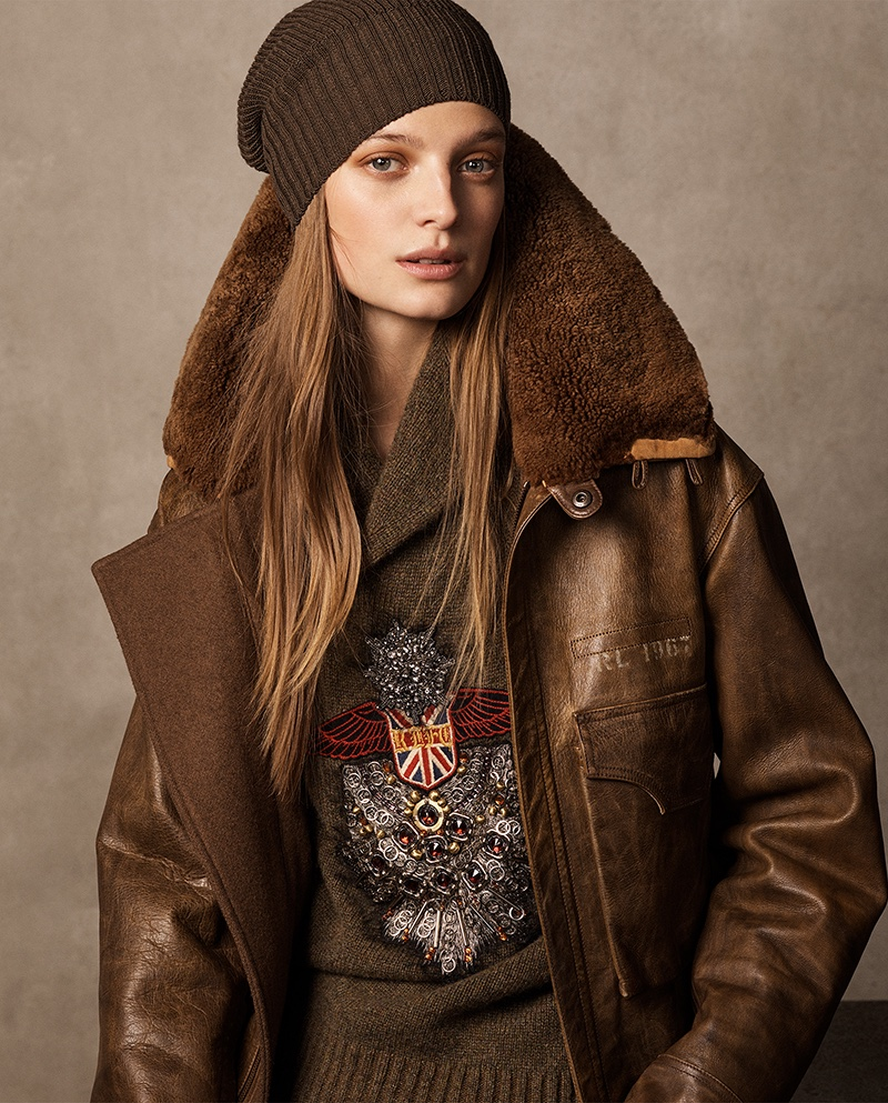 Ralph Lauren Collection Grayden Leather Coat, Embroidered Shawl Sweater and Watchman Cashmere Hat