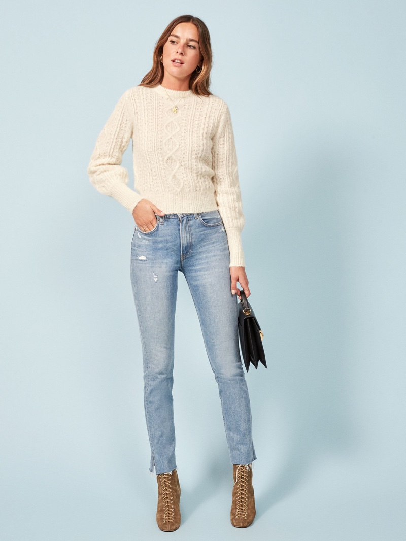 Reformation Arden Sweater in Ivory $268