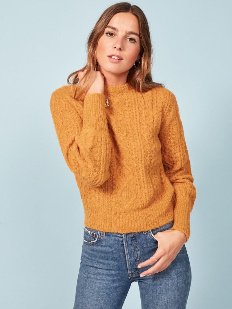 Reformation Arden Sweater in Mustard $268