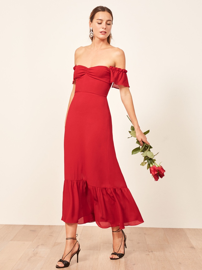 Reformation Butterfly Dress in Cherry $278