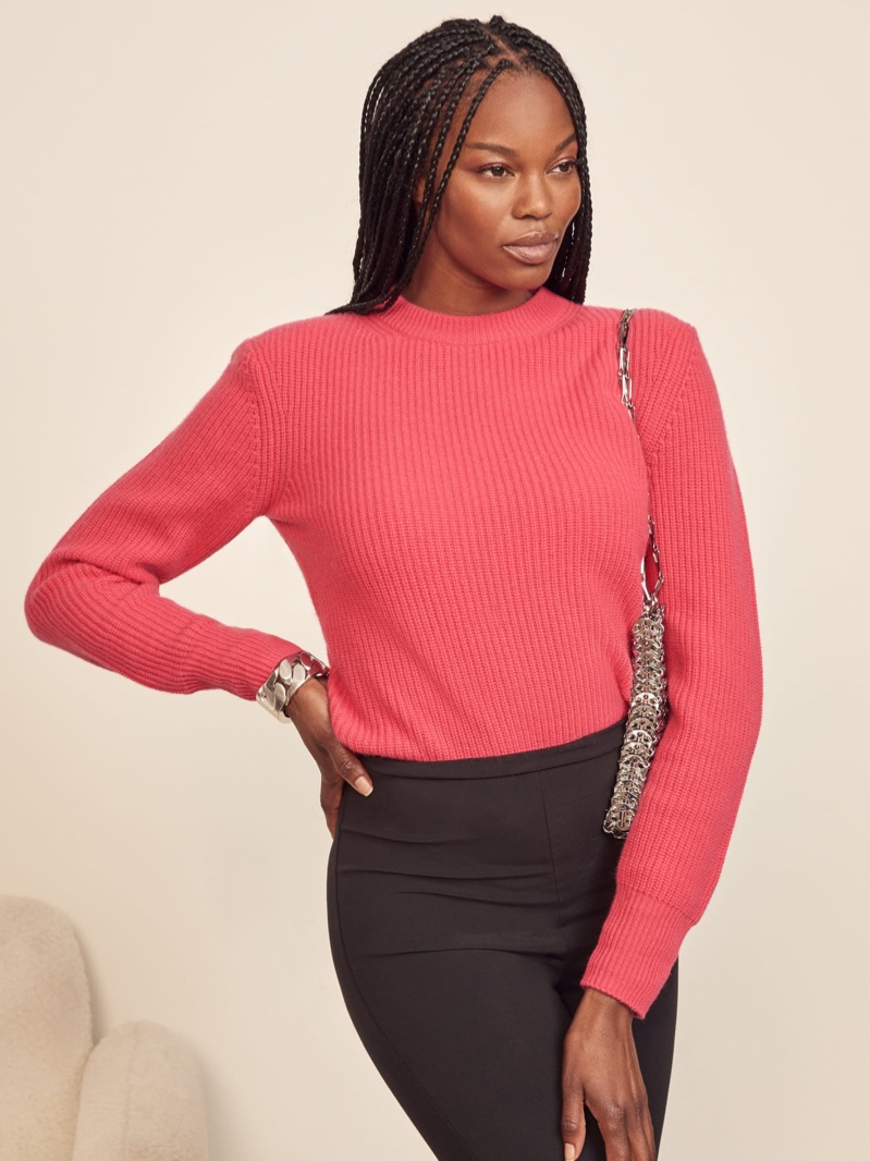 Reformation Cesina Cashmere Sweater in Fuchsia $228