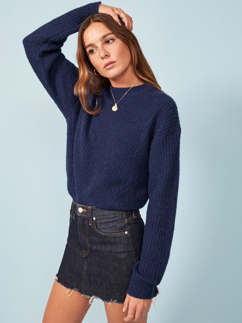 Reformation Finn Sweater in Navy $248