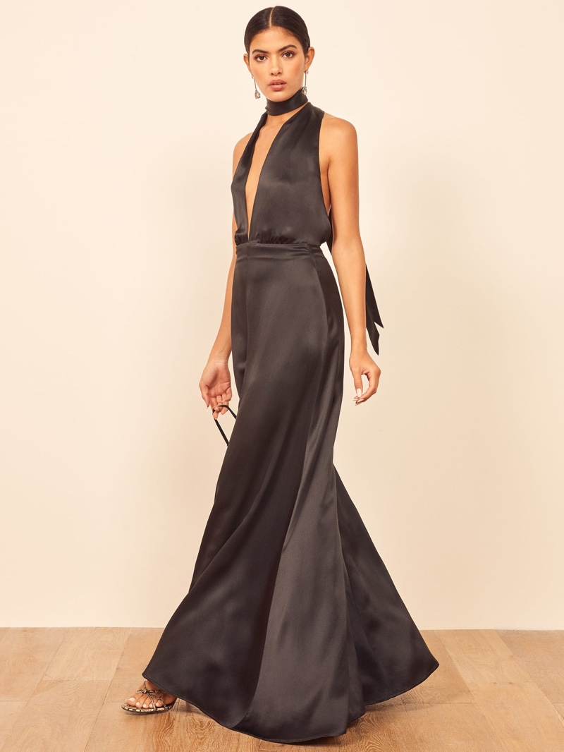 Reformation Gauche Dress in Black $428