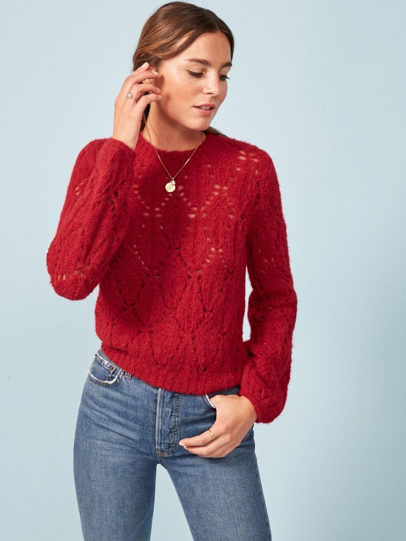 Reformation Jessie Sweater in Cherry $248