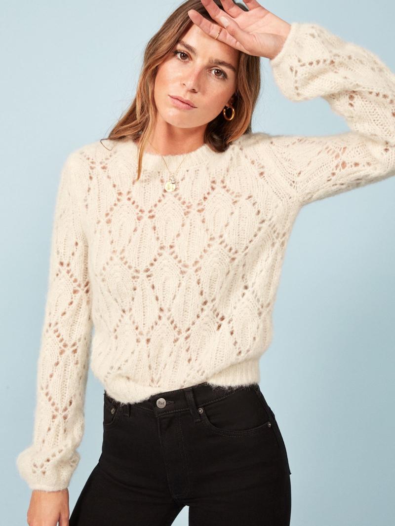Reformation Jessie Sweater in Ivory $248