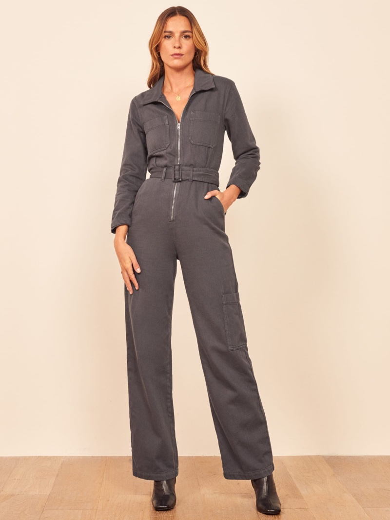 Reformation Leia Boiler Suit in Stone $178