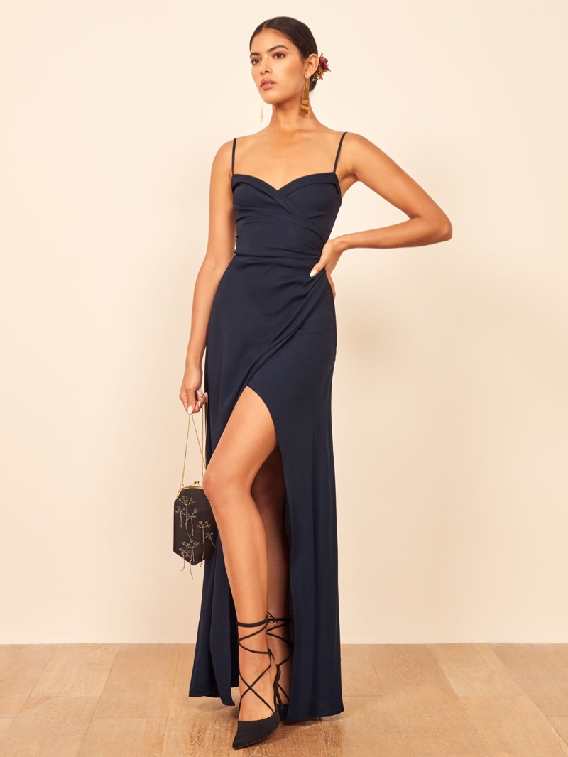 Reformation Loire Dress in Navy $328