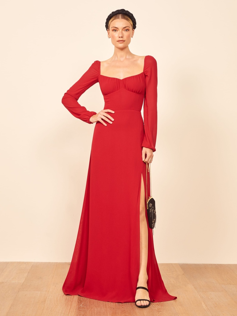 Reformation Madeleine Dress in Cherry $388