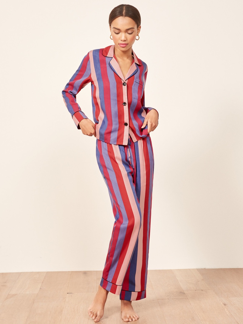 Reformation Pajama Set in Disco Stripe $98