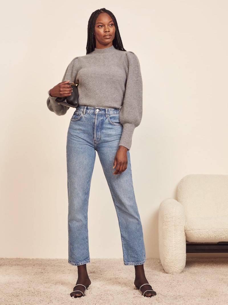 Reformation Perche Ribbed Sweater in Dark Grey $228