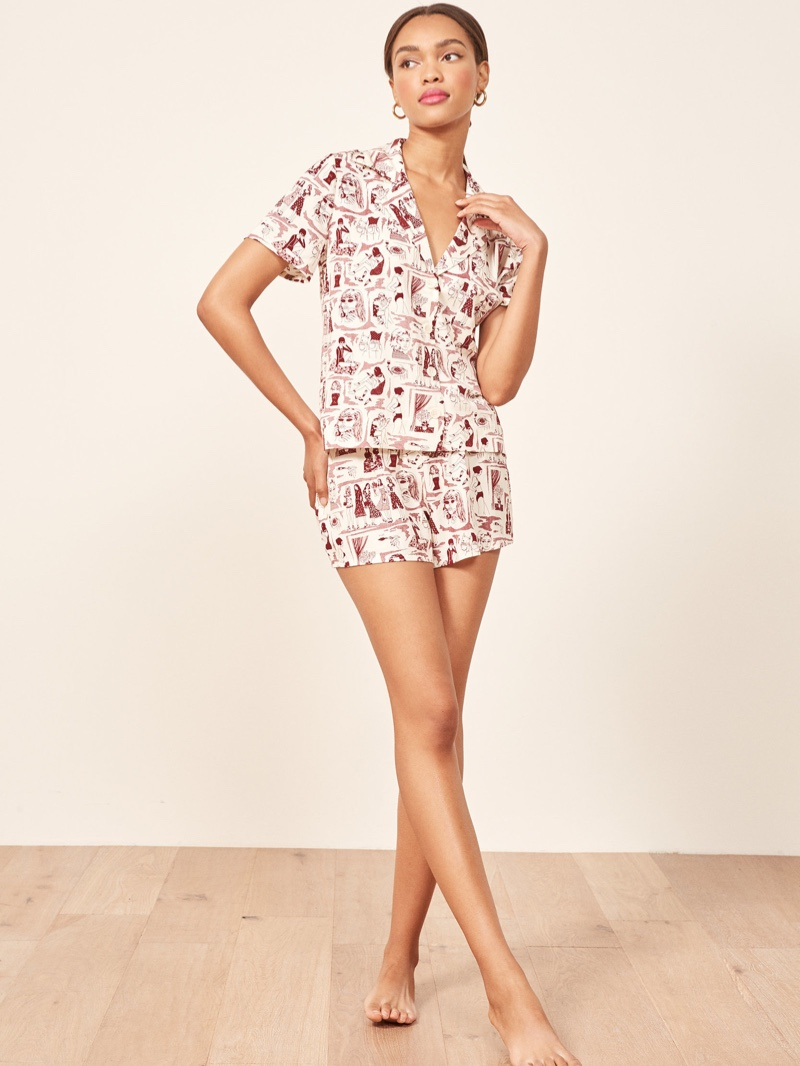 Reformation Short Pajama Set in Ref Babe $88